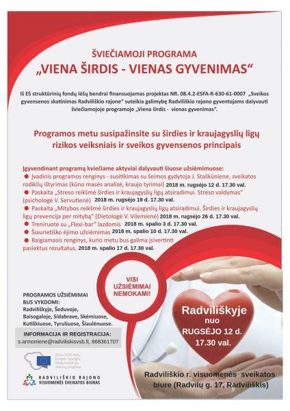 """Paskaita """"Streso reikšmė širdies ir kraujagyslių prevencijai"""", psichologė V. Servutienė (Radviliškyje) @ Radviliškio rajono visuomenės sveikatos biuras"""