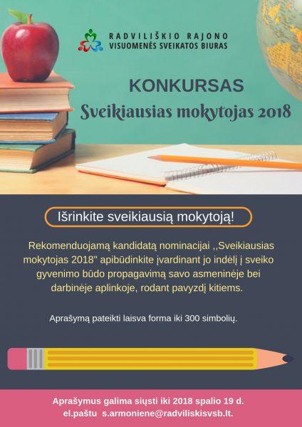 """Konkursas ,,SVEIKIAUSIAS MOKYTOJAS 2018"""" @ Radviliškio rajono visuomenės sveikatos biuras"""