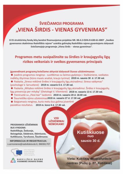"""Šviečiamoji programa """"Viena Širdis – vienas gyvenimas"""",  Kutiškių daugiafunkcis centras (Pušų g. 37, Kutiškiai)"""