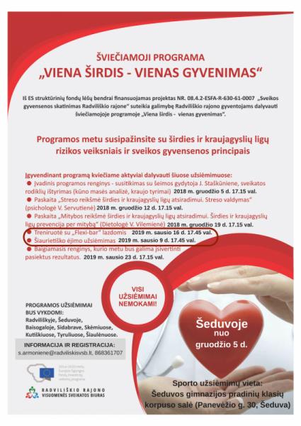 """Šviečiamoji programa """"Viena Širdis – vienas gyvenimas"""" Šeduvoje @ Šeduva"""