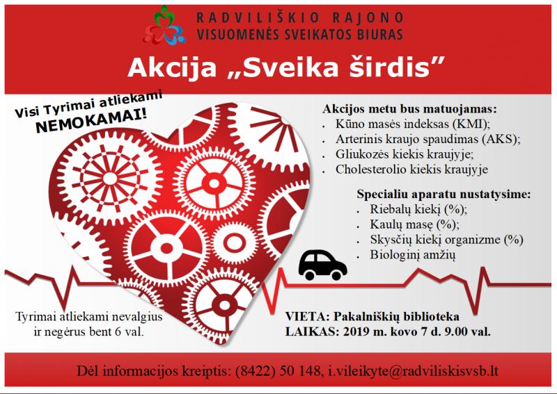 """Akcija """"Sveika širdis"""" Pakalniškių bibliotekoje @ Pakalniškių biblioteka"""