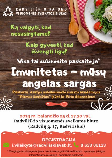 Imunitetas - mūsų angelas sargas @ Radviliškio rajono visuomenės sveikatos biuras