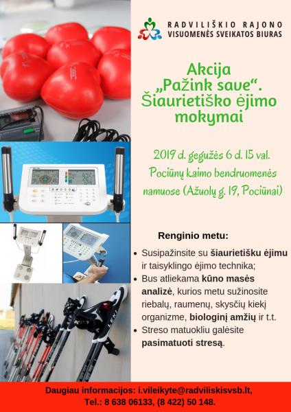 """Akcija """"Pažink save"""" ir šiaurietiško ėjimo mokymai @ Pociūnų kaimo bendruomenės namai"""