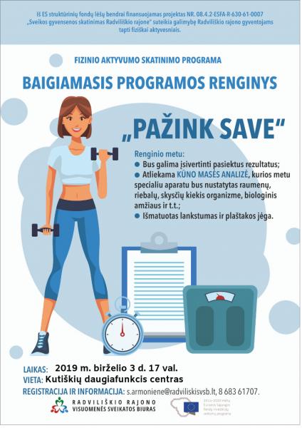 """Fizinio aktyvumo skatinimo programos baigiamasis renginys """"Pažink save"""" @ Kutiškių daugiafinkcis centras"""