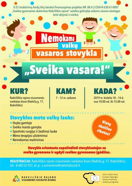 """Vaikų vasaros stovykla """"Sveika vasara"""" @ Radviliškio rajono visuomenės sveikatos biuras"""