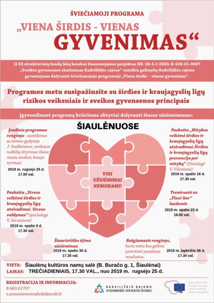 """Šviečiamosios programos """"Viena širdis - vienas gyvenimas"""" paskaita apie mitybą Šiaulėnuose @ Šiaulėnų kultūros namai (B. Buračo g. 1, Šiaulėnai)"""
