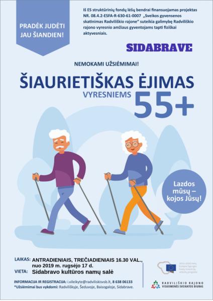 Šiaurietiškas ėjimas vyresniems 55+ Sidabrave @ Sidabravo kultūros namų salė