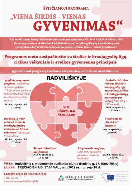 """Šviečiamosios programos """"Viena širdis - vienas gyvenimas"""" paskaita apie mitybą Radviliškyje @ Radviliškio rajono visuomenės sveikatos biuras, Radvilų g. 17"""