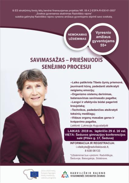 """Užsiėmimas """"Savimasažas - priešnuodis senėjimo procesui"""" Šeduvoje @ Šeduvos gimnazijos konferencijų salė"""