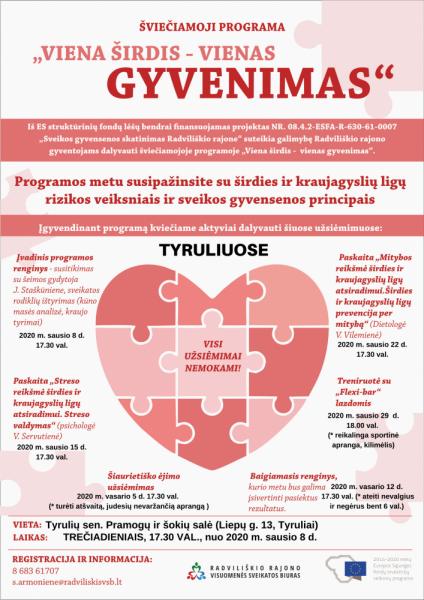 """Šviečiamosios programos """"Viena širdis – vienas gyvenimas"""" įvadinis renginys Tyruliuose @ Tyrulių sen. Pramogų ir šokių salė (Liepų g. 13, Tyruliai)"""