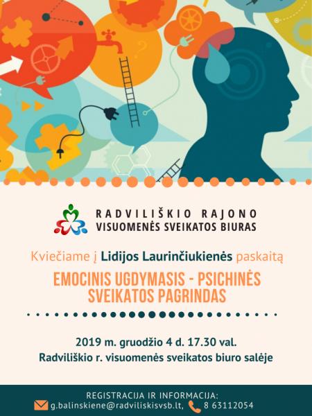 """L. Laurinčiukienės paskaita """"Emocinis ugdymasis - psichinės sveikatos pagrindas"""" @ Radviliškio rajono visuomenės sveikatos biuras, Radvilų g. 17"""