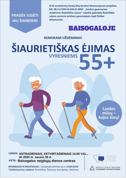 Šiaurietiškas ėjimas 55+ Baisogaloje @ Baisogalos neįgaliųjų dienos centras (Grinkiškio g. 4, Baisogala)
