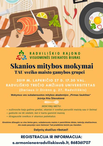 Skanios mitybos mokymai TAU sveiko maisto gamybos grupei @ Radviliškio TAU