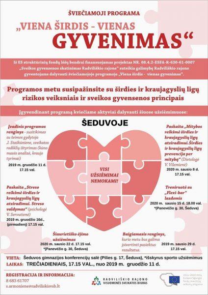 """Šviečiamosios programos """"Viena širdis – vienas gyvenimas"""" paskaita apie mitybą Šeduvoje @ Šeduvos gimnazijos konferencijų salė"""