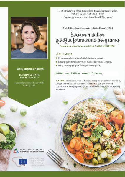 Nuotoliniai sveikos mitybos mokymai su V. Kurpiene