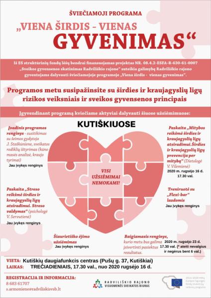 """Šviečiamosios programos """"Viena širdis – vienas gyvenimas"""" paskaita apie mitybą Kutiškiuose @ Kutiškių daugiafinkcis centras"""