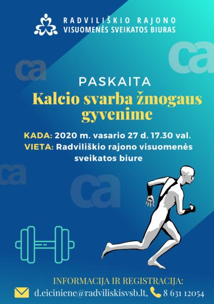 """Paskaita  """"Kalcio svarba žmogaus gyvenime"""" @ Radviliškio rajono visuomenės sveikatos biuras"""