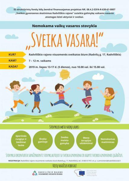 """Vaikų vasaros stovykla""""Sveika vasara!"""" @ Radviliškio rajono visuomenės sveikatos biuras"""