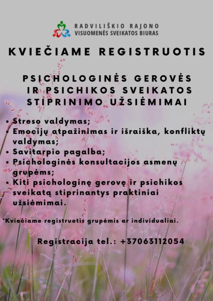 Psichologinės gerovės ir psichikos sveikatos stiprinimo užsiėmimai Radviliškio pagalbos šeimai centre @ nuotoliniu būdu per ZOOM programą