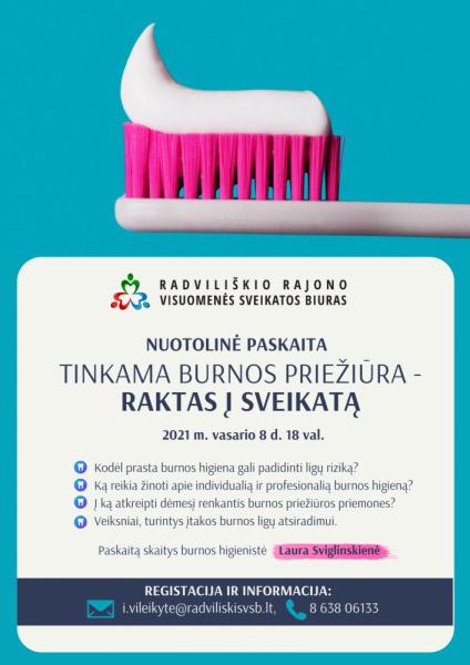 """Nuotolinė paskaita """"Tinkama burnos priežiūra - raktas į sveikatą"""" @ Nuotoliniu būdu"""