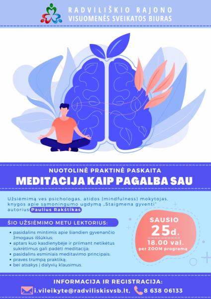 """Nuotolinis užsiėmimas """"Meditacija kaip pagalba sau"""" @ Nuotoliniu būdu"""